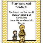 Star Wars Mini Printable  Ten frame number cards Number cards 1-12 clothespin Trace the numbers 1-10 Puzzle ...