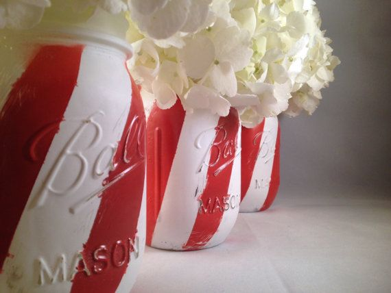 3 Painted candy cane stripe distressed mason jars for Christmas decor, centerpiece, holiday decor, housewares, home decor, Christmas favors on Etsy, $30.00