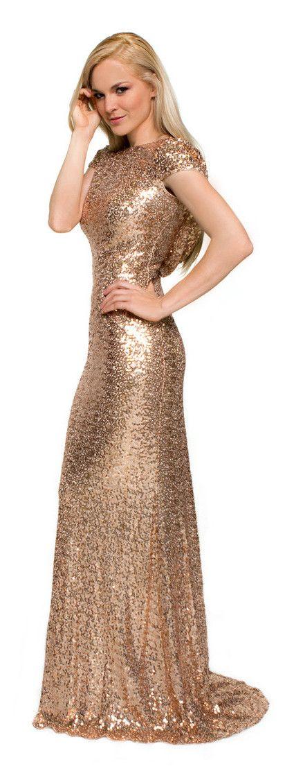 Sequin evening dress 2015 gold cap sleeve floor length for Long sleeve sequin wedding dress