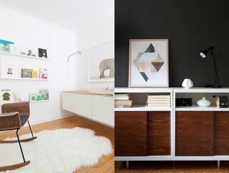 Schrankfronten oder obere Oberfläche aus Holz zum Ikea Besta Regal montieren