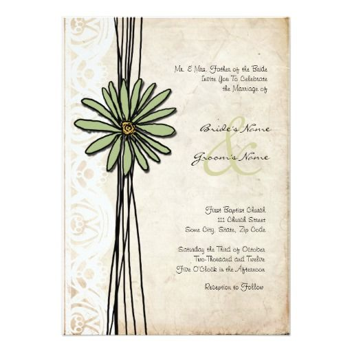 vintage sage daisy wedding invitation - Daisy Wedding Invitations