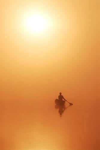 Morning Canoe   Basshaunt Lake, Ontario, Canada.  By Peter Bowers