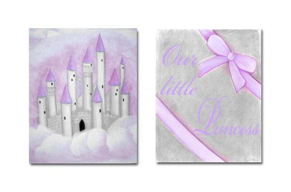 Nursery Decor Purple Princess Wall Art Castle Baby by handpainting