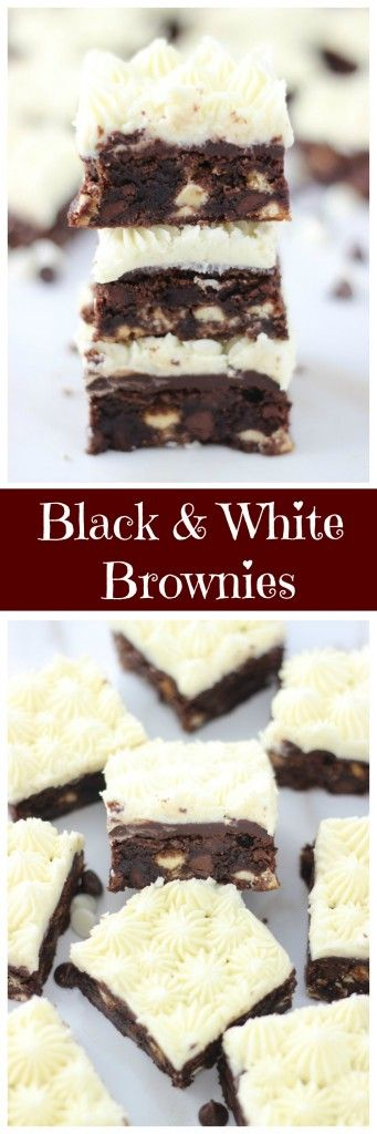 Doctored-up box brownies with semi-sweet chocolate chips and white chocolate, topped with chocolate ganache, and a rich, creamy white buttercream!