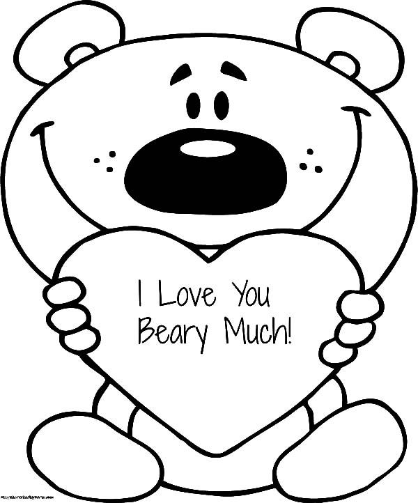 I Love You Beary Much Teacher Coloring Page Valentines Day Coloring Page Bear Coloring Pages Heart Coloring Pages