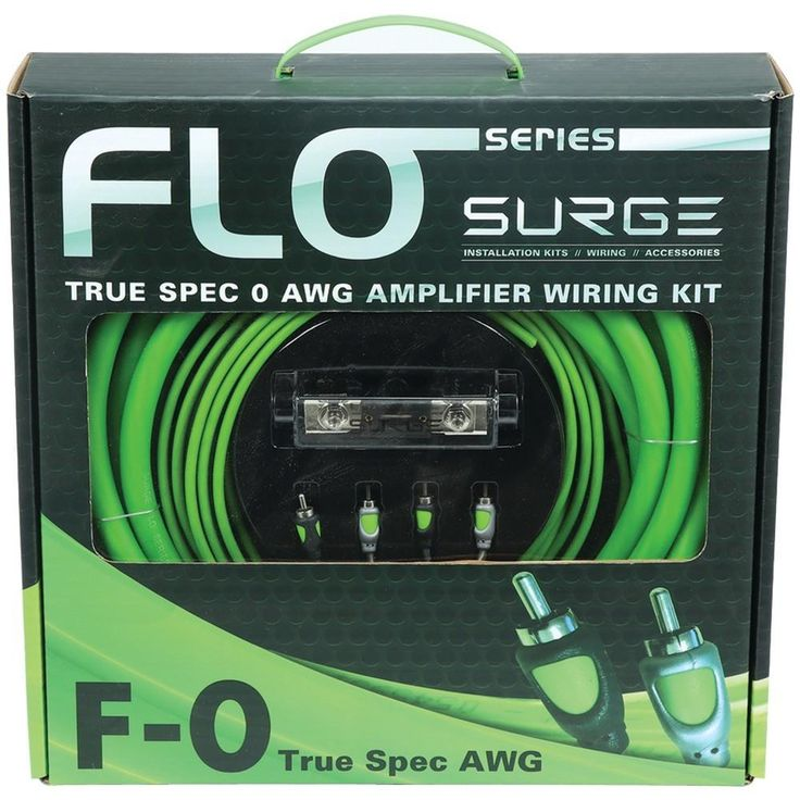 SURGE F-0 Flo Series Amp Installation Kit (0 Gauge, 5,000 Watts). True American spec kit;  Tested & approved handling capability;  18ft Envy Green Flo Flex power wire, pre-terminated for easy access;  3ft Stealth Black Flo Flex ground cable, pre-terminated for easy access;  18ft 18-gauge amp turn-on wire ;  18ft true copper EZ connect twisted pair RCA signal cable;  Platinum-plated ANL fuse holder;  6ft black split loom tube;  Installation hardware;  0 gauge;  5,000W power handling;  250A…