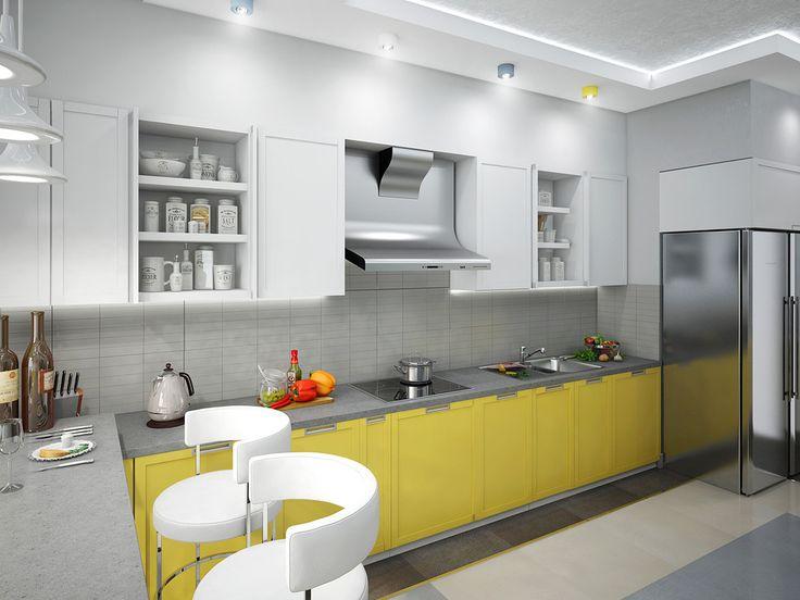Яркая кухня - Кухня в современном стиле | PINWIN - конкурсы для архитекторов…