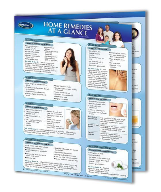 This 4-page, laminated Guide is the ultimate quick reference source for Home Remedies and their applications! This useful Guide can provide every home and family with a summary of readily available treatments for common physical health problems. The problems and their remedies are listed in alphabetical order, including allergic reactions, colds, food poisoning, hangovers, insect bites, and sore throats.