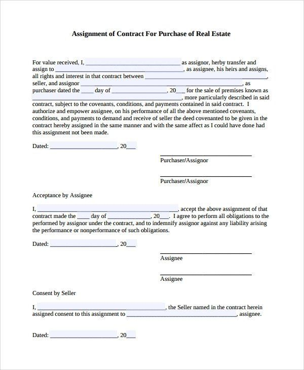32 Assignment Of Contract Form In 2020 Contract Template