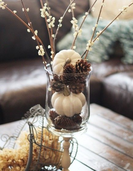 I love the look of the pinecones with white pumpkins.  Would look great in mason jars or even wine glasses.