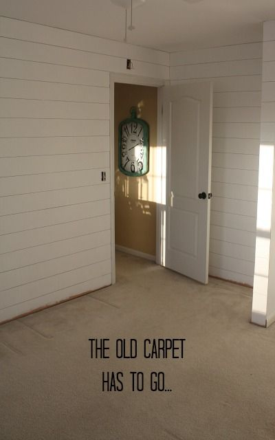 """To save money, we bought sheets of very thin plywood at Lowe's for $13.97 a panel and had them cut it into 6″-wide strips for us at the store. The """"real"""" shiplap boards cost $8.22/each, so it would have cost us over $400 to panel the room. With the plywood, we spent only $139."""