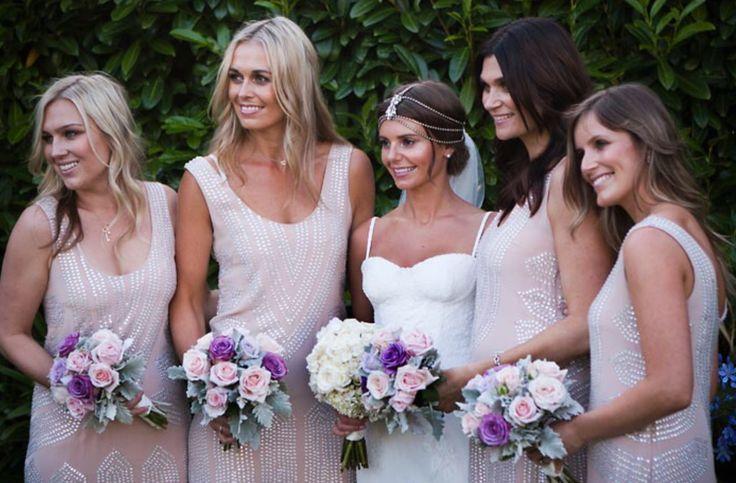 Blushing Bridesmaids #bridesmaid #dresses #artdeco #gatsby #blush #sequins #glamour #vintage #style #pastel #rachelgilbert Bridesmaid dresses: Rachel Gilbert / PC: Akila Berjaoui + Mim Connell