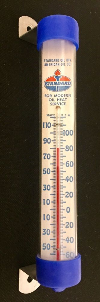 Vintage Standard Oil Thermometer    Wall Mount     Glass  | eBay