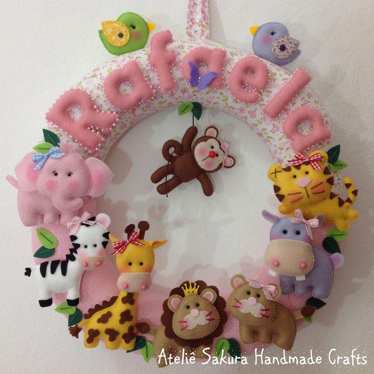 Guirlanda Porta de Maternidade tema Safári para a Rafaela