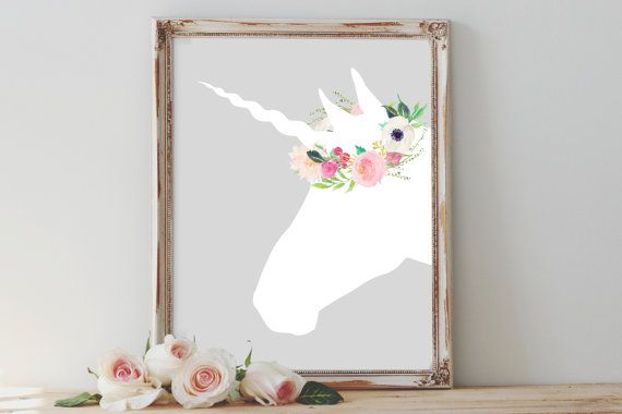 Girl's Nursery print, PRINTABLE, watercolor floral unicorn wall art, baby girl baby shower newborn gift, girl's bedroom decor