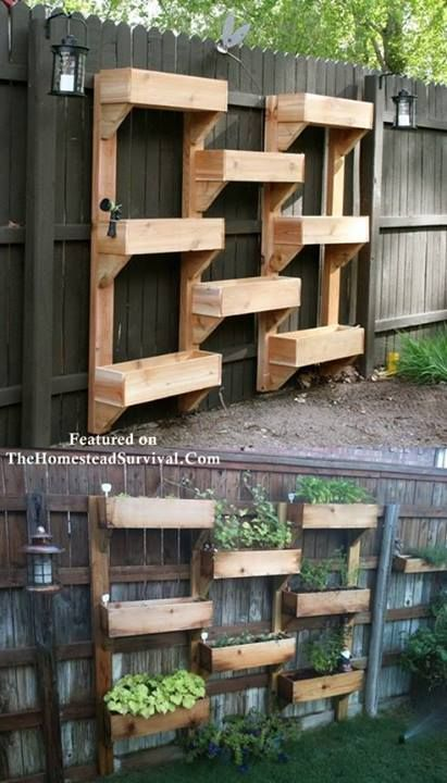 Use your fence for garden space. Great idea for small backyards