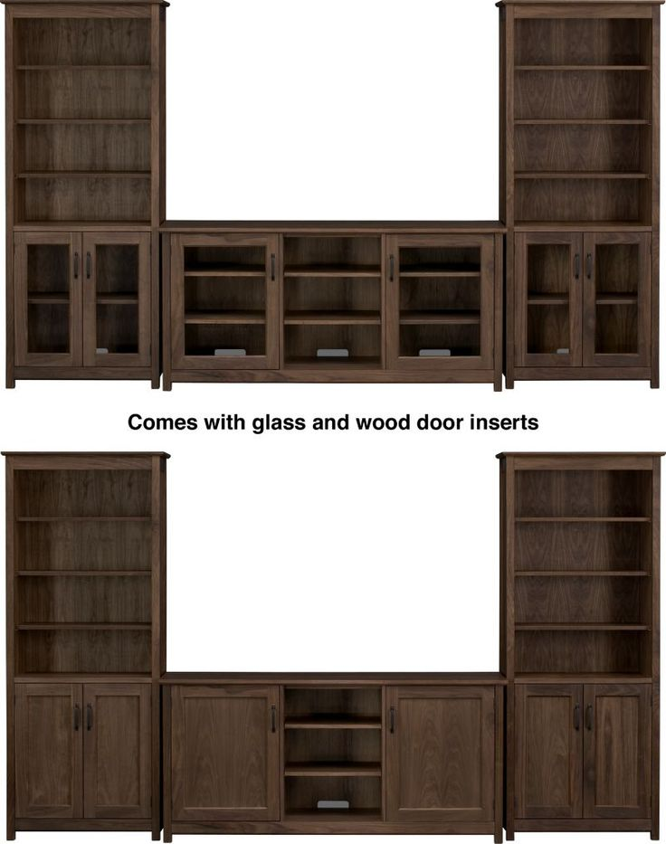 "Ainsworth Walnut 64"" Media Center with Wood/Glass Doors and 2 Towers in Media Centers 