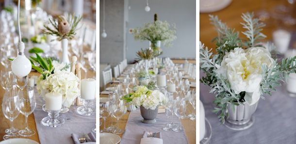 grey and white wedding flowers.