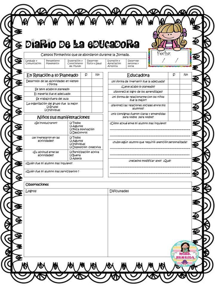 Excelente diario de la educadora simplificado | Educación Primaria