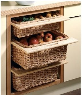 99 best wicker basket drawers 101 images on pinterest for Baskets on top of kitchen cabinets