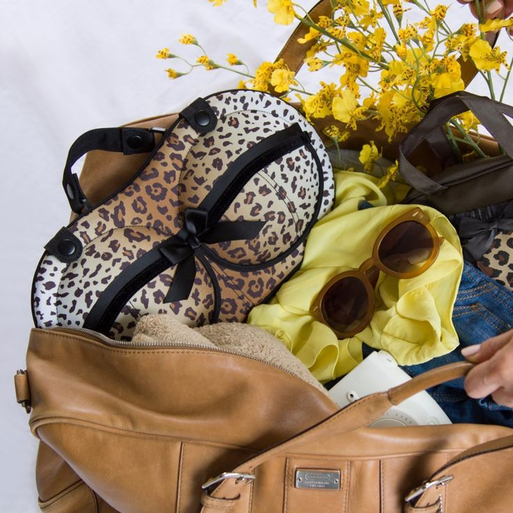 The Sahara design features leopard print with black velvet and lace details.  A cups through D cups need not worry about traveling with their bras ever again. With this brag, you get to journey around, while your tras don't move around!  #LoveMyBrag #TravelInStyle #BraTravelBag #AnimalPrint