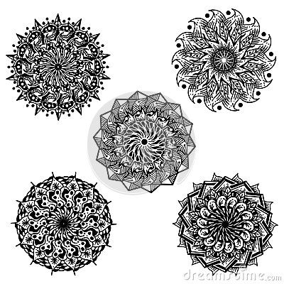 Hand drawing Flower Mandala set images that can be printed in any media, on tshirt, poster, etc
