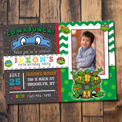 Ninja Turtle Invitations Ninja Turtles Invite Ninja by ArtsyOwly