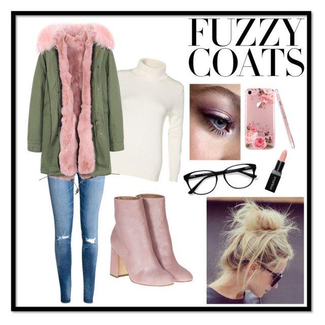 """Fuzzy Coat Season"" by jacd432 ❤ liked on Polyvore featuring H&M, Laurence Dacade, EyeBuyDirect.com, Smashbox, eyeshadow, morning, messybun and fuzzycoats"