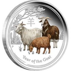 Perth ANDA Coin Show Special 2015 Year of the Goat 2oz Silver Proof Coloured Coin