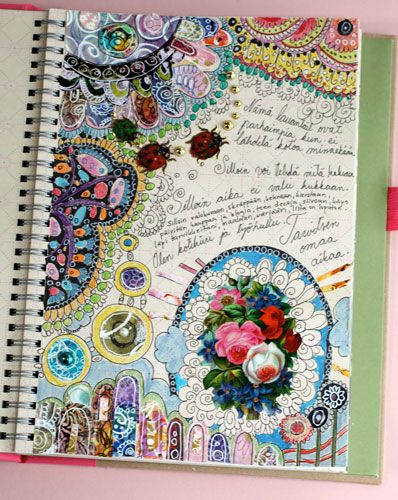 Awesome embellished & colorful art journal page. Must check out artist!