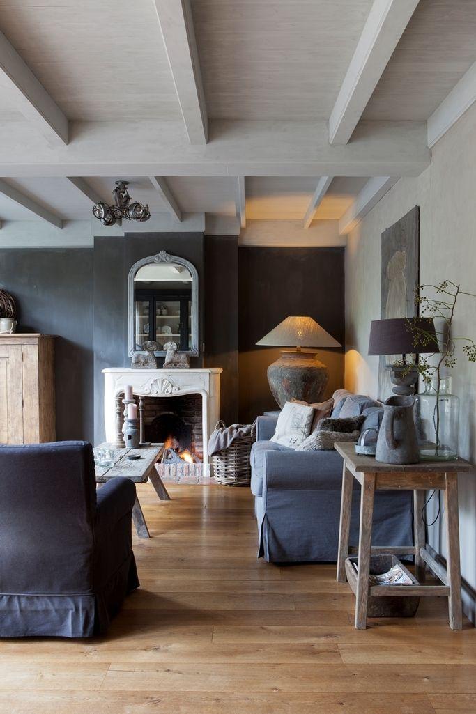 gorgeous rich deep grey living room - Wood floor, stone accessories groeninterieur