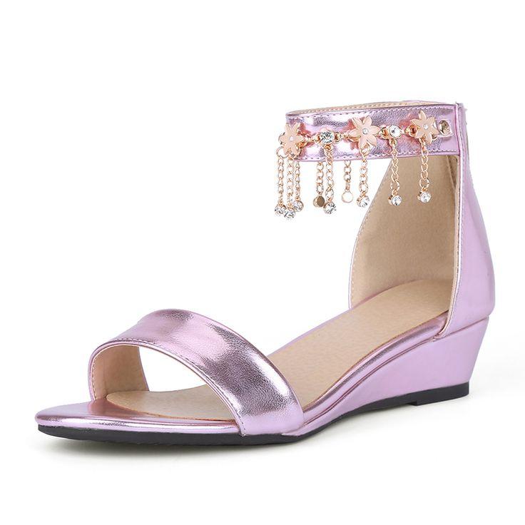 Nuovo arrivo dolce Sandali piatti per le donne zeppe tacco basso estate scarpe moda donna sandali rosa glod argento 3 colori(China (Mainland))