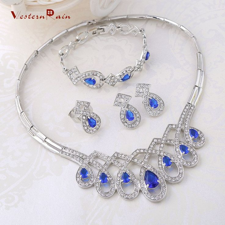 2016 Top Quality Blue Crystal Rhinestone Princess Crown Jewelry For Women Party Jewelry Sets A319