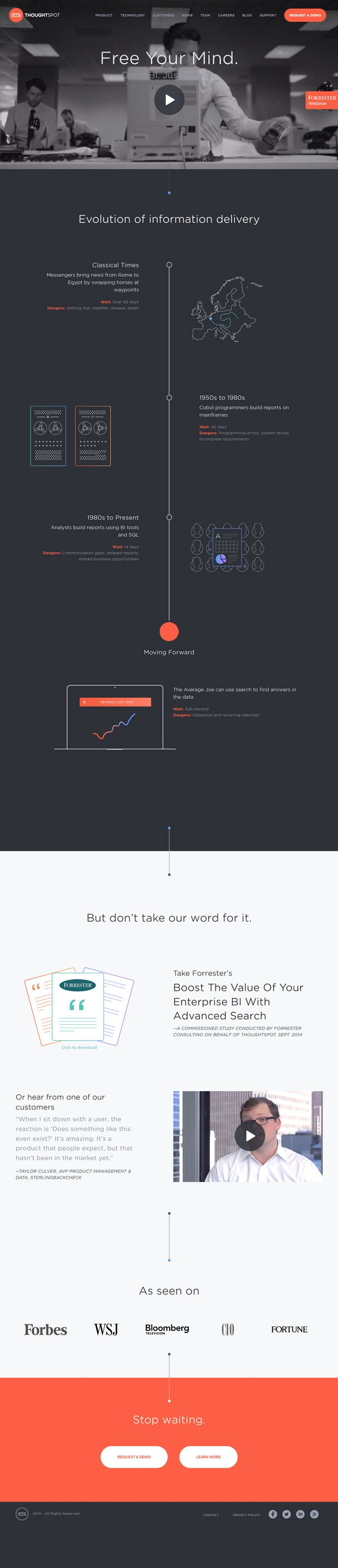 Flat Design Website; Example; Category: Inspiration; Name Site: ThoughtSpot; Color: Gray, Orange.