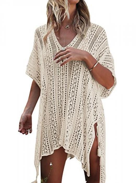 c63fe71b0b Jeasona Women's Bathing Suit Cover Up Beach Bikini Swimsuit Swimwear  Crochet