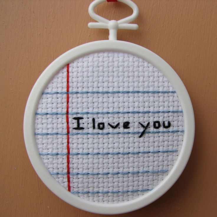 Handmade Notebook I Love You Cross Stitch by RikkasCreations on Etsy