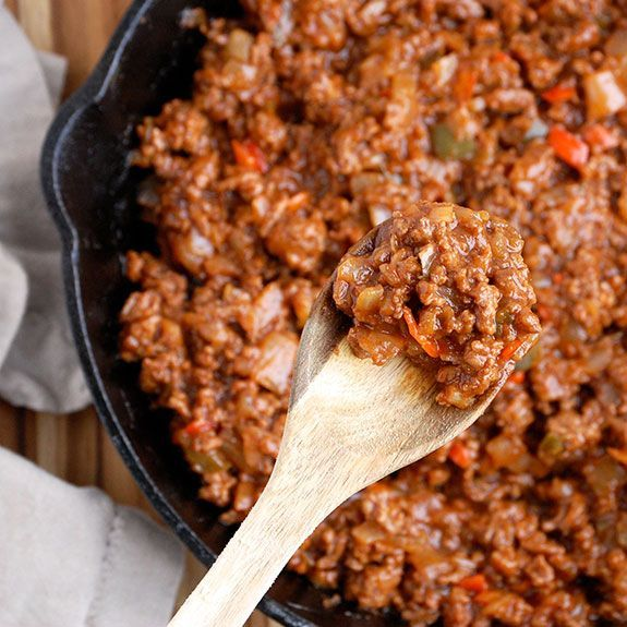 Sloppy Joes with Sweet Potatoes- a healthier, and in my opinion, tastier version of the classic sloppy joe. Make it even healthier by substituting ground beef with ground turkey.