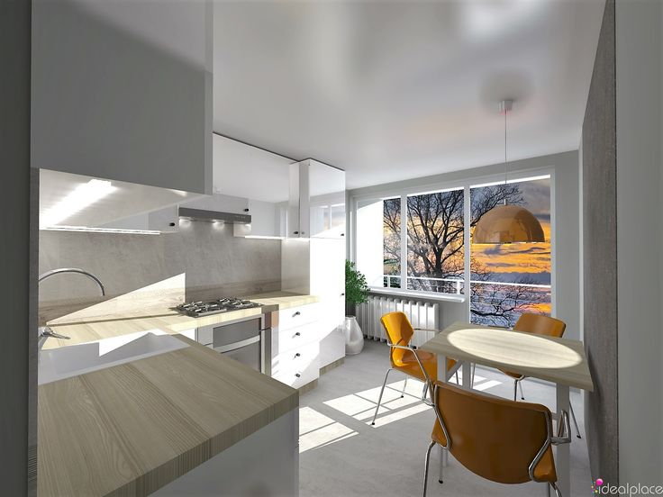 Kuchnia z balkonem w bloku, 9,5 m kw, płytki gres beton w połączeniu z drewnopodobnymi, blat z płyty w kolorze jasny wiąz, tynk strukturalny na ścianie za stolikiem.