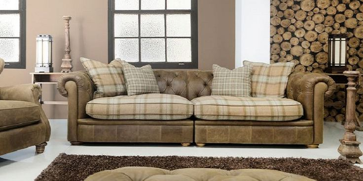 Leather and Fabric Chesterfield Sofa