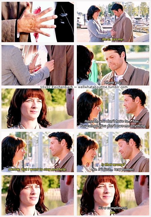"""10x02 Reichenbach [gifset] - """"Is that wrong?"""" """"No, it's just... very human."""" - Hannah, Castiel; Supernatural - I may have a thing for Castiel teaching Hannah about humans."""