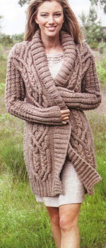 """Knitting pattern ladies chunky """"aran"""" cardigan / coat / jacket one size   Knitting Patterns, Cardigans and Knitting"""