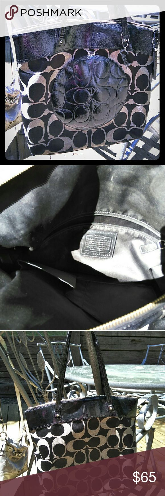 Large Black & Grey Coach Purse/Tote Large Black & Grey Coach Purse/Tote Coach Bags Totes