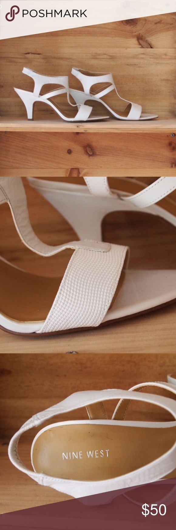 "Nine West ""Best in Show"" White textured leather strappy heels from Nine West.  New in Box, never worn. So damn cute. Nine West Shoes Heels"