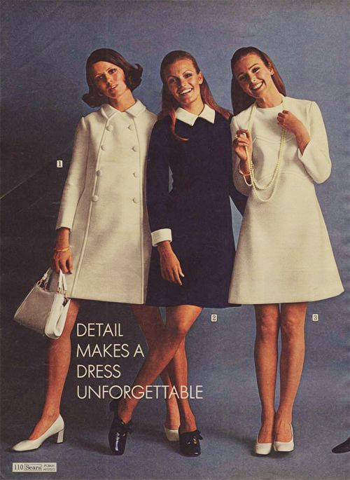 #1960s coat dress winter wool day wear secretary office short knee mini white blue black shoes purse hairstyle vintage fashion print ad