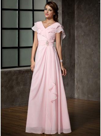 Vestidos princesa/ Formato A Decote V Longos De chiffon Vestido para a mãe da noiva com Pino flor crystal Babados em cascata