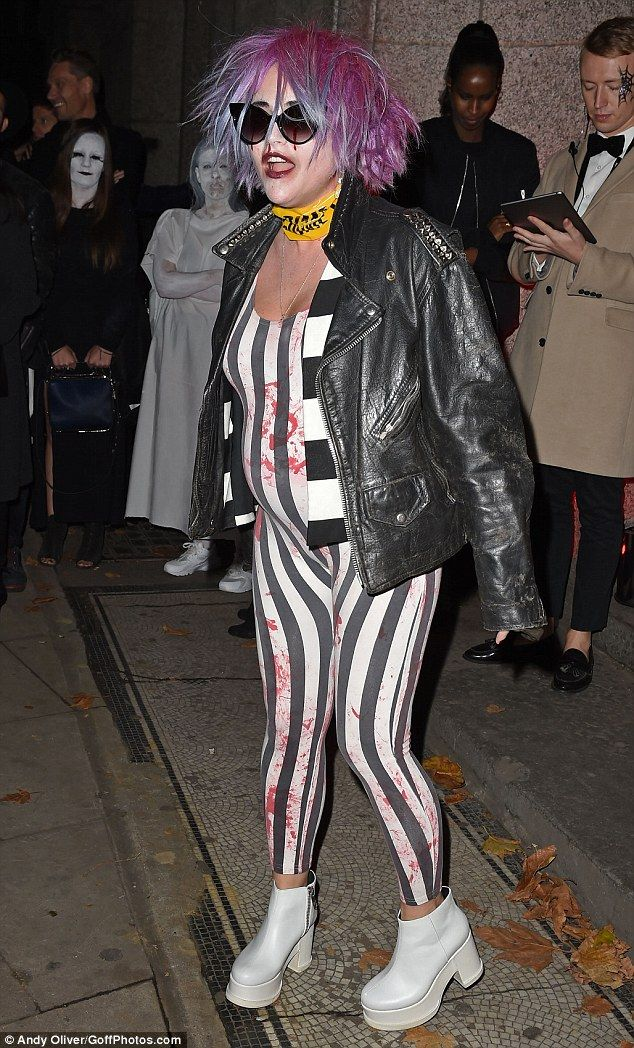 Things that go BUMP in the night: Expectant actress Jaime Winstone proudly showed off her growing belly in a Beetlejuice-style catsuit