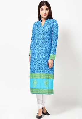 Green coloured, printed kurta for women by Folklore. Crafted from cotton, this knee-length kurta has full sleeves and a mandarin collar. It comes in regular fit.