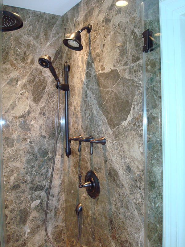 Marble shower panels - no grout to clean - and beautiful to boot!