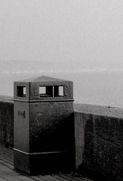 black and white film photography bin at Bridlington seafront