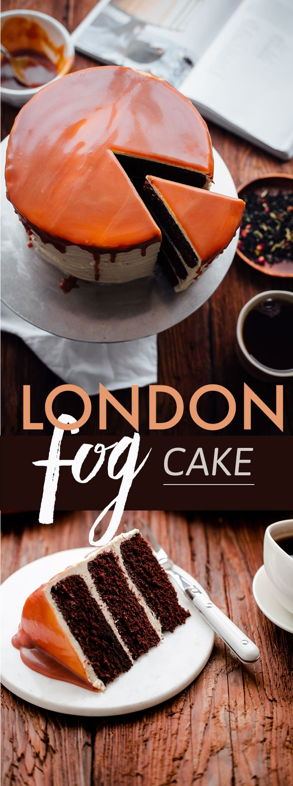 This AMAZING London Fog Cake is topped with an EARL GREY buttercream and salted caramel. The best chocolate cake I've ever made!